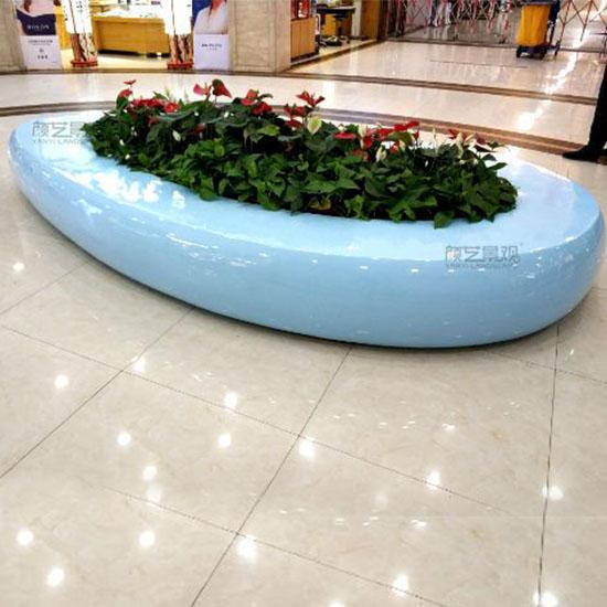 创意玻璃钢花盆座椅组合购物中心公共休息坐凳
