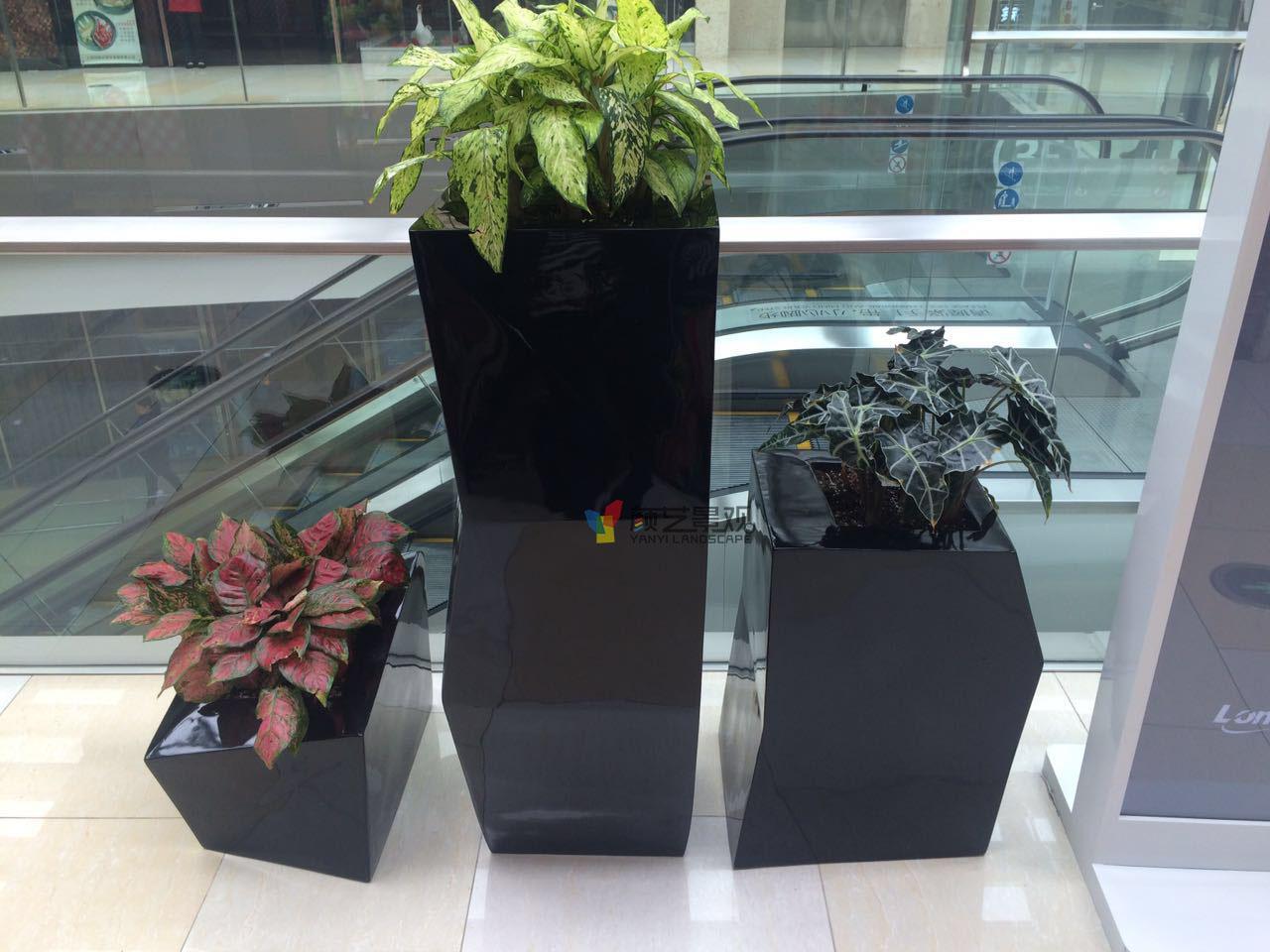 购物中心黑色花盆