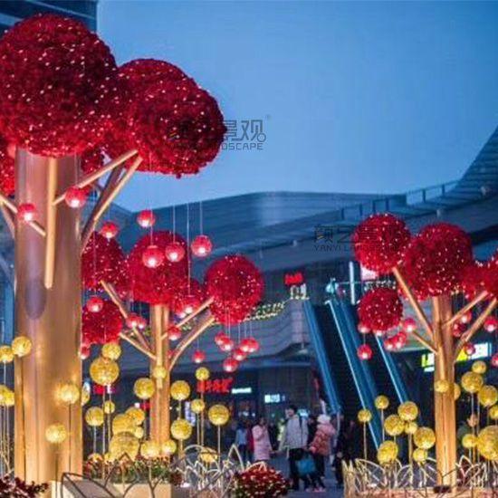 广场创意发光玫瑰花树